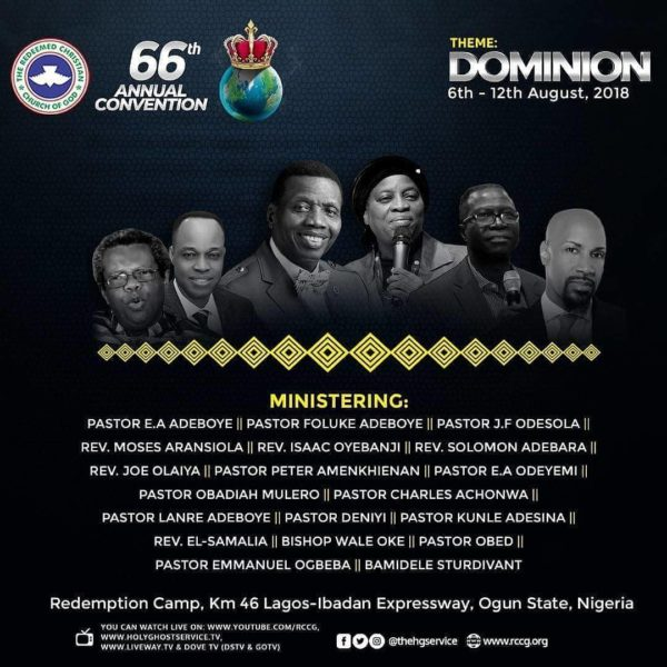 RCCG 66th Annual Convention 2018 Speakers